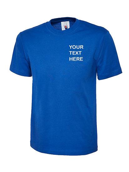 Royal Blue T-Shirt Uneek Brand showing left chest placement