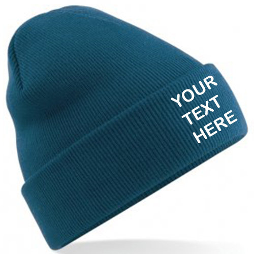 Petrol Blue Classic Beanie showing front placement