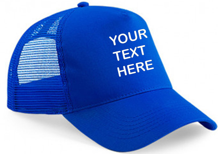 Royal blue cap with royal blue mesh and panel showing front placement