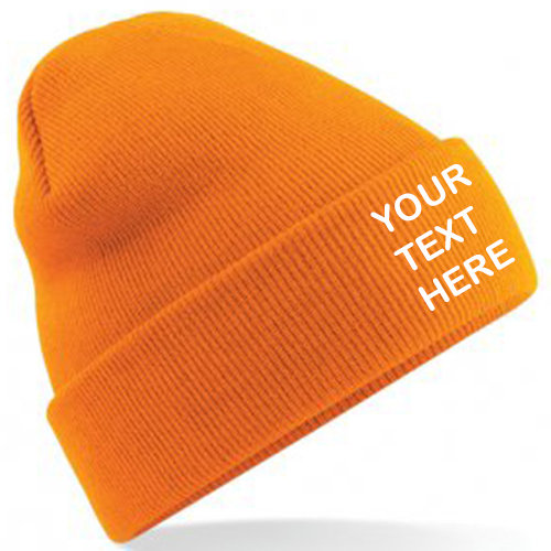 Orange Classic Beanie showing front placement