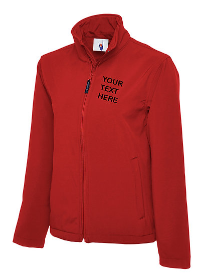 Red Classic Softshell showing black text left chest placement