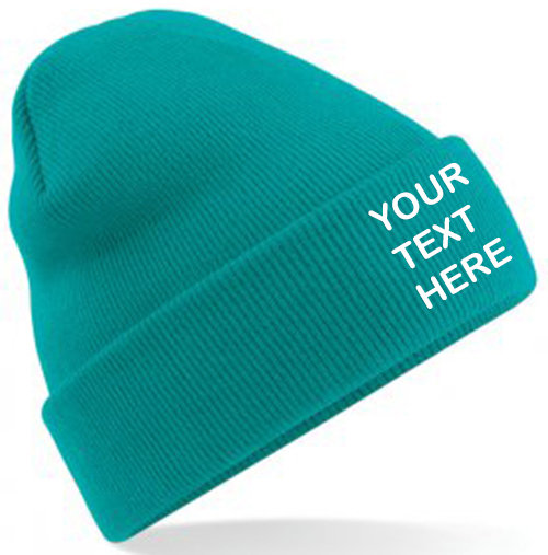 Emerald Green Classic Beanie showing front placement