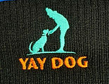 Yay Dog embroidery on a beanie hat