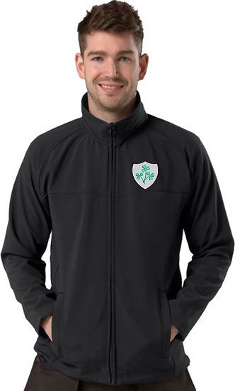 Black Active Softshell showing Retro Ireland Design and left chest placement