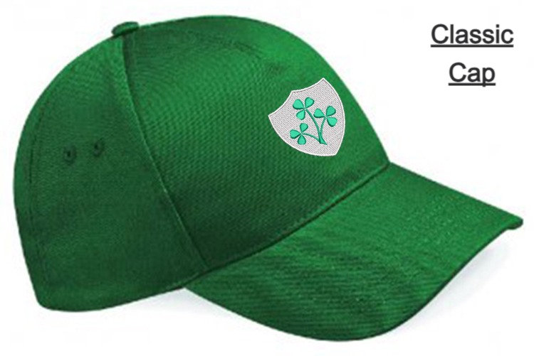 Bottle Green Classic Cap showing Retro Ireland design and front placement