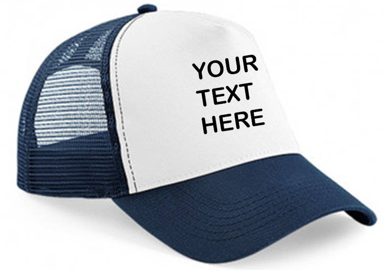 Navy cap with navy mesh and white panel showing front placement