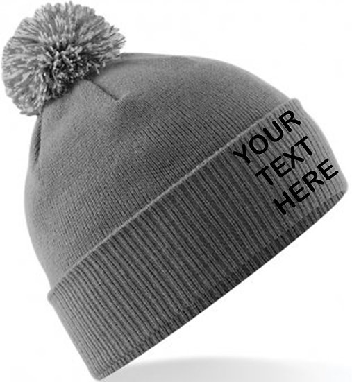 Graphite Grey/Light Grey Contrast PomPom Beanie showing front placement