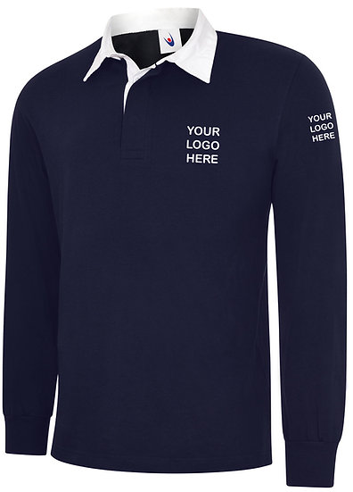 Navy Blue Rugby Shirt showing left chest and left sleeve placement