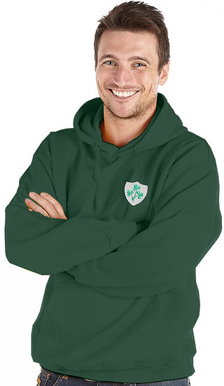 Bottle Green Standard Hoody showing retro Ireland design and left chest placement