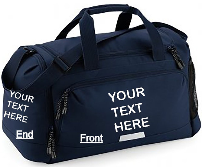 French Navy Blue Academy holdall showing front and end placements