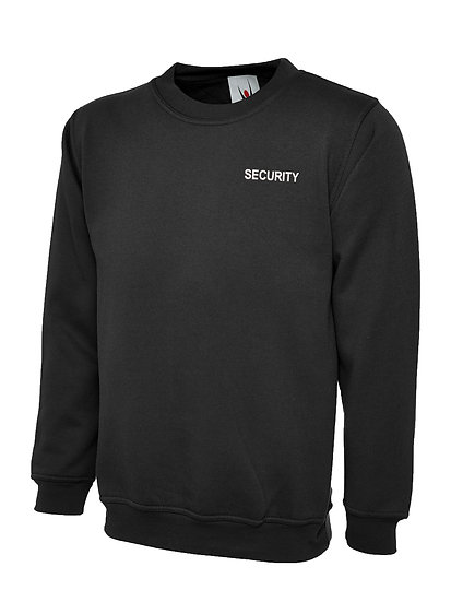 Black sweatshirt showing left chest placement for security text
