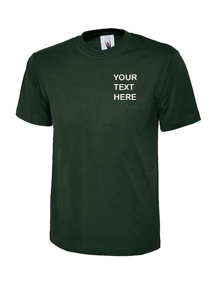 Bottle Green T-Shirt Uneek brand showing left chest placement
