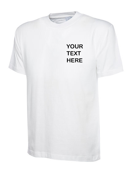White T-Shirt Uneek Brand Showing left chest placement