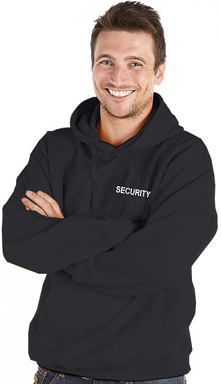 Black hoody showing left chest placement for SECURITY text