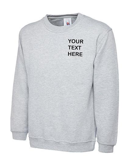 Heather Grey Sweatshirt showing left chest placement