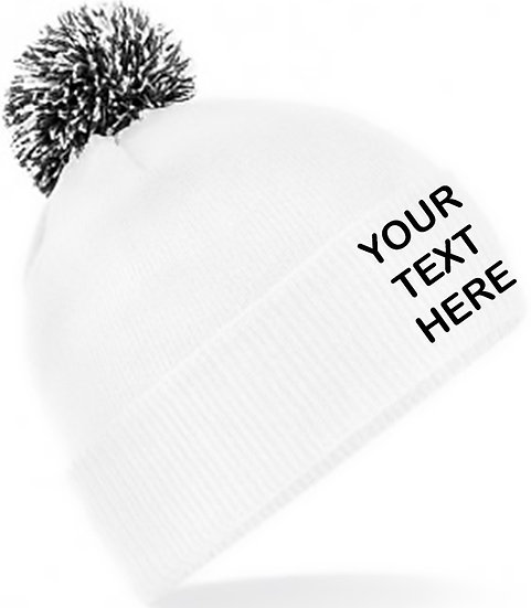 White/Black Contrast PomPom Beanie showing front placement
