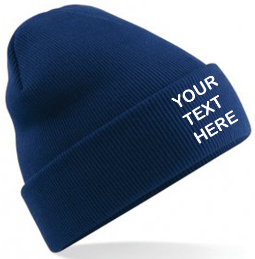 Oxford Navy Blue Classic Beanie showing front placement