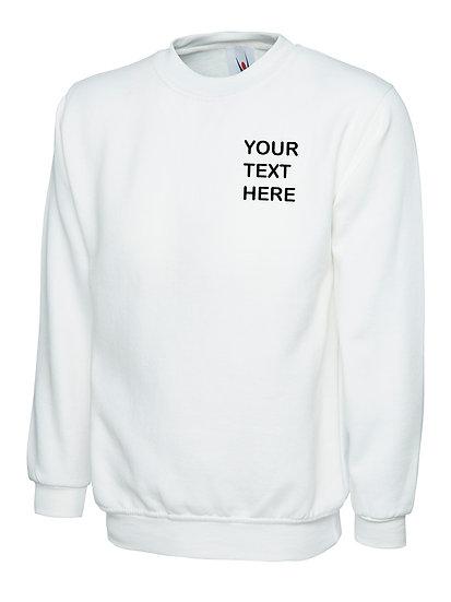 White Sweatshirt showing left chest placement