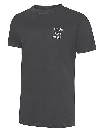 Charcoal grey T-Shirt Uneek Brand showing left chest placement