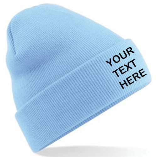 Sky Blue Classic Beanie showing front placement