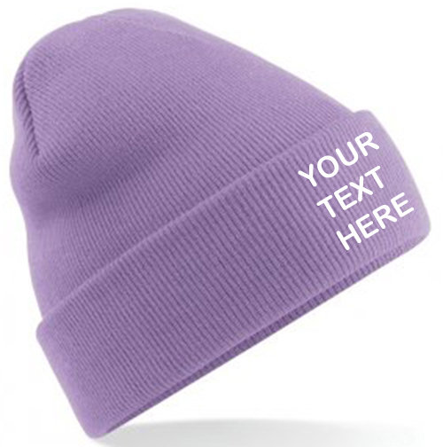 Lavender Classic Beanie showing front placement
