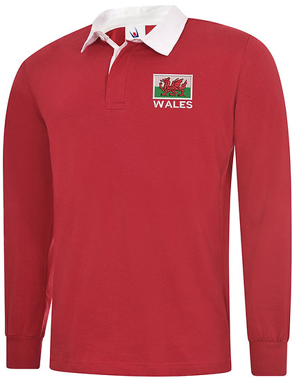 Red Rugby Shirt showing placement of design