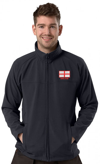 Navy Blue Active Softshell showing St George flag design and left chest placement