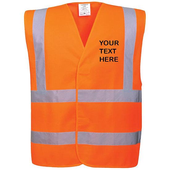 Hi-Vis Two Band & Brace Vest - C470 Orange showing left chest placement