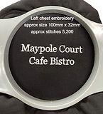 Maypole Court Cafe Bistro left chest embroidery showing design details