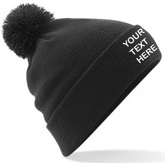 Black PomPom Beanie showing front placement