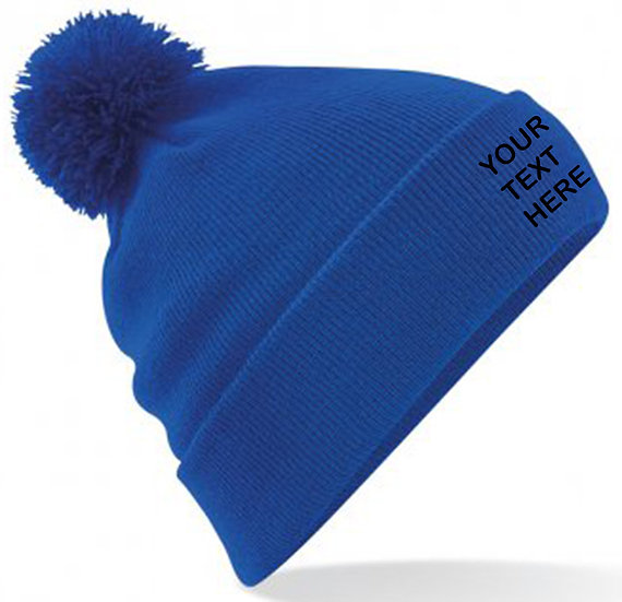 Bright Royal Blue PomPom Beanie showing front placement