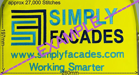 Simply Facades back embroidery showing size/layout/stitch count