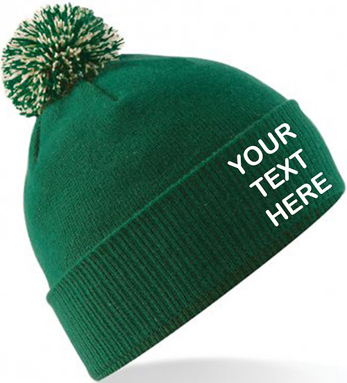 Bottle Green/Off White Contrast PomPom Beanie showing front placement