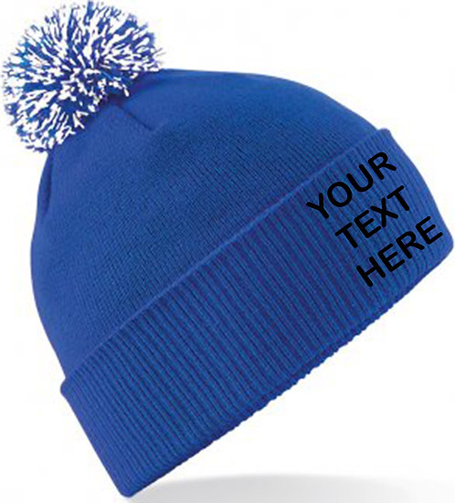 Royal Blue/White Contrast PomPom Beanie showing front placement