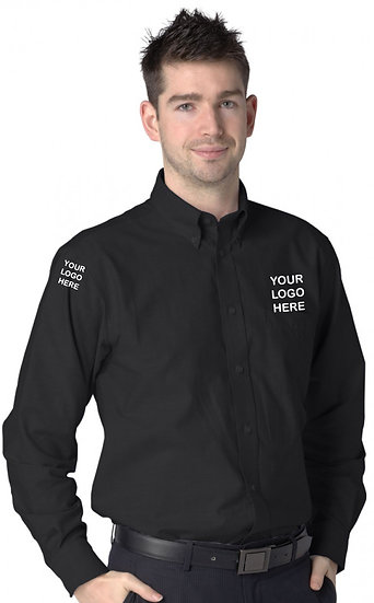 Black Long Sleeve Oxford Shirt showing left chest and right sleeve placement