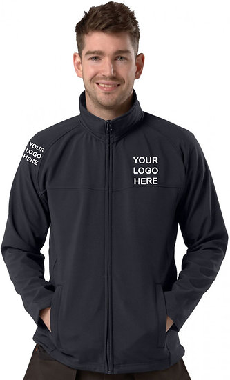 Navy Blue Active Softshell showing left chest and right sleeve placement