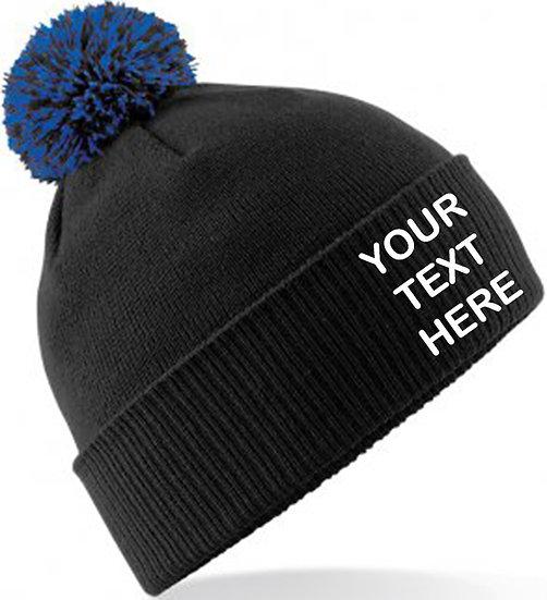 Black/Royal Blue Contrast PomPom Beanie showing front placement