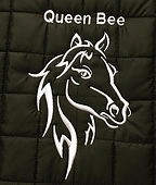 Queen Bee and horse head embroidery on the back of a gilet