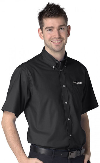 Black short sleeve oxford shirt showing left chest placement of security text