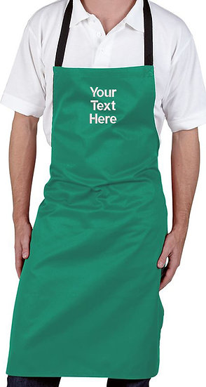 Kelly Green Bib Apron showing centre chest placement