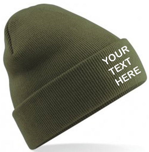 Moss Green Classic Beanie showing front placement