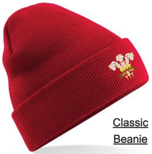 Red Classic Beanie showing retro design and placement
