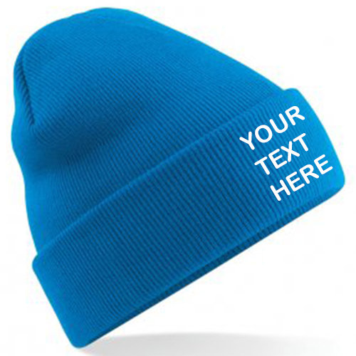 Sapphire Blue Classic Beanie showing front placement