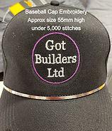 Got Builders Ltd Cap embroidery showing size/layout/colours