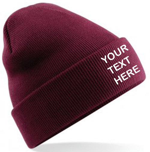 Burgundy Classic Beanie showing front placement