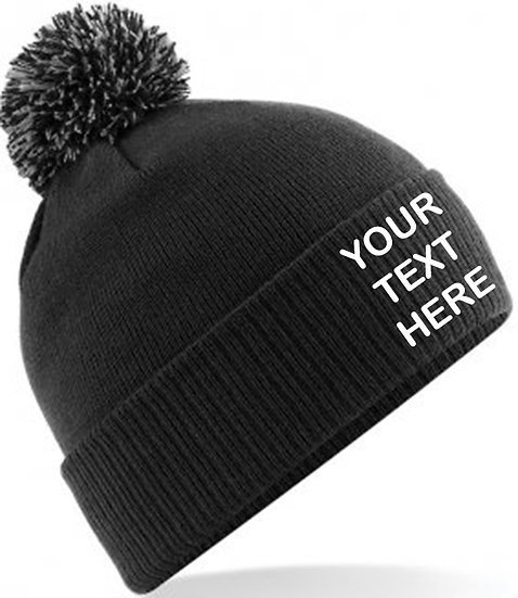 Black/Graphite Grey Contrast PomPom Beanie showing front placement
