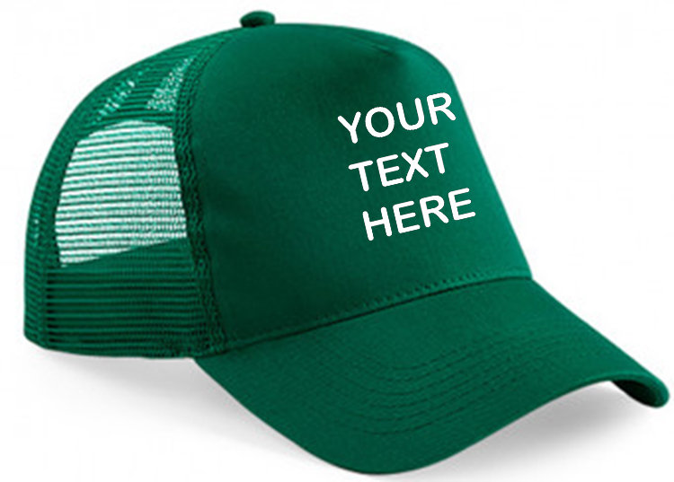 Bottle Green cap with bottle green mesh and front panel showing front placement