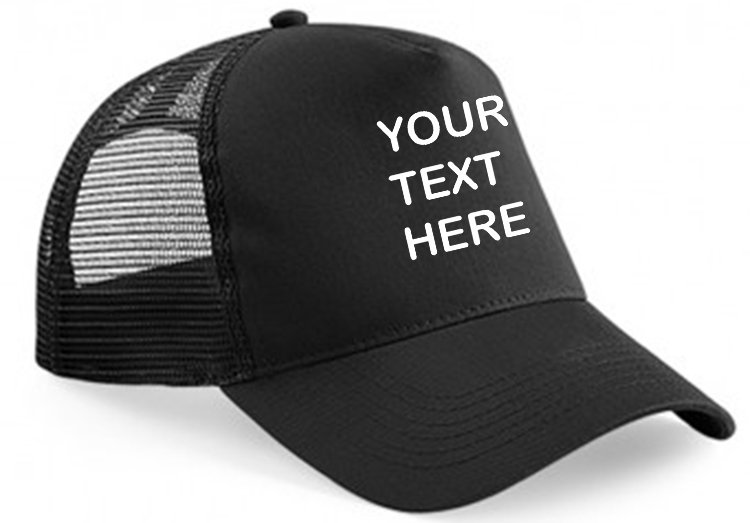 Black cap with black mesh and black front panel showing front placement