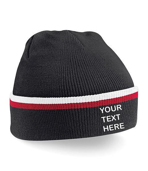 Black/Red/White Teamwear Beanie showing front placement
