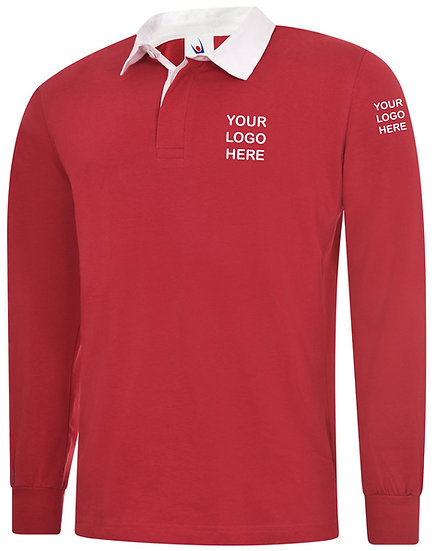 Red Rugby Shirt showing left chest and left sleeve placement